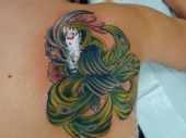 crystal lynn - peacock on my right shoulder blade (after the color)